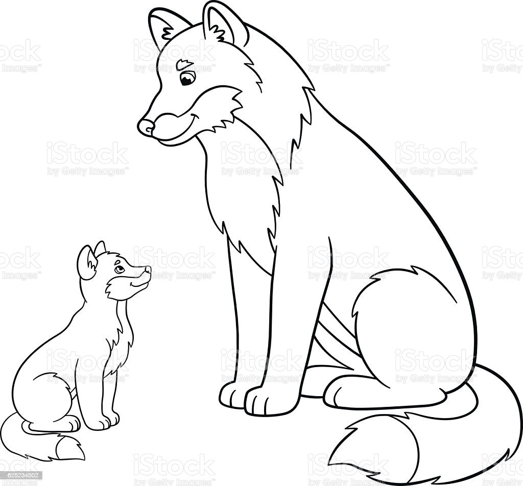 coloring pages father wolf with his little baby stock vector art