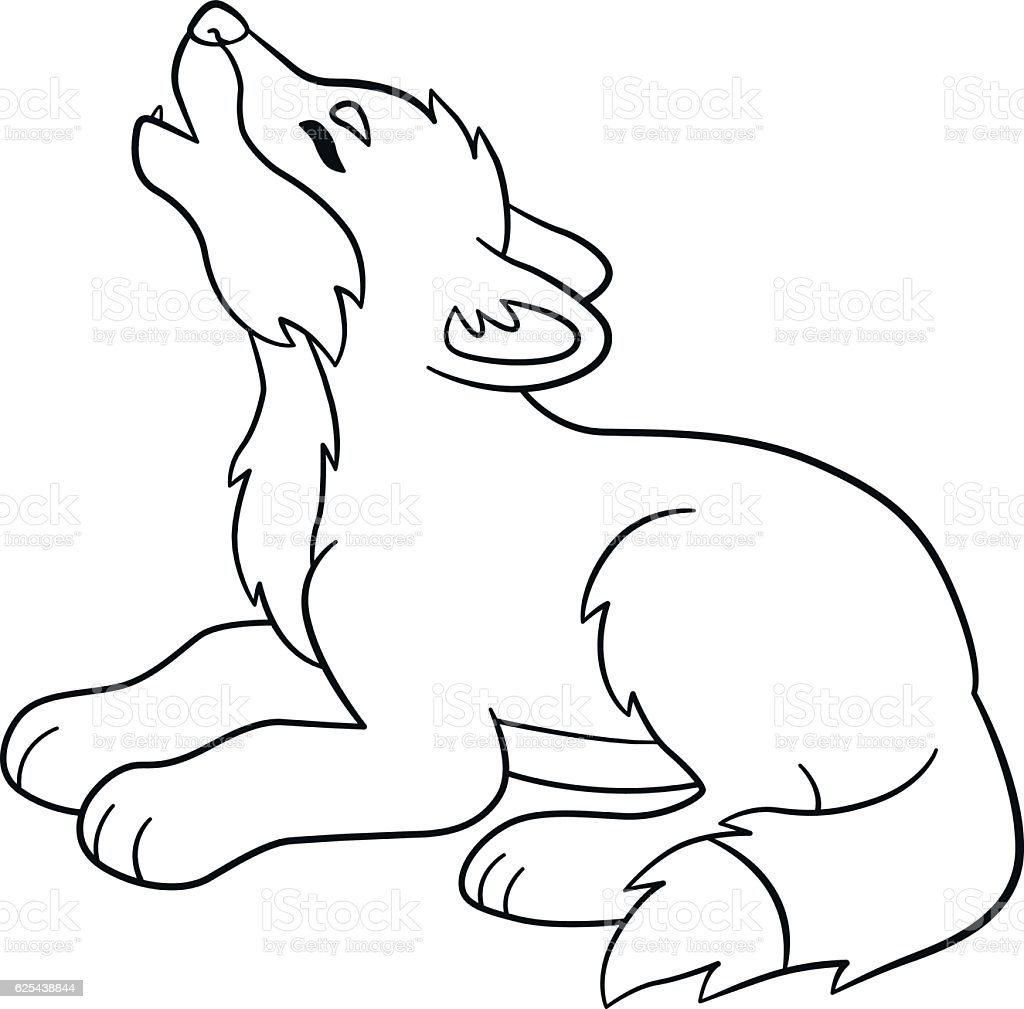 Coloring Pages Little Cute Baby Wolf Howls stock vector