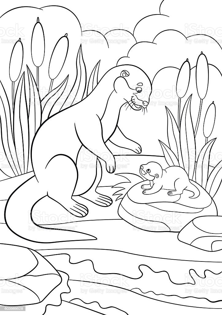 Coloring pages. Mother otter looks at her cute baby. vector art illustration