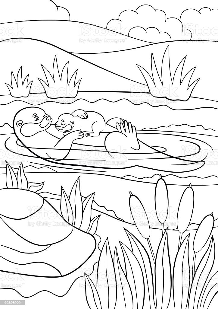 Coloring pages. Mother otter swims with her baby. vector art illustration