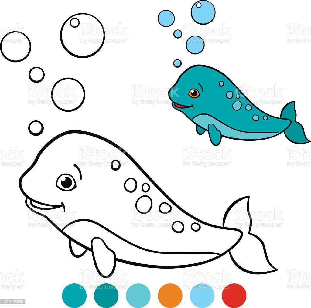 Coloring pages narwhal - Coloring Pages Narwhal Little Cute Baby Narhwal Swims