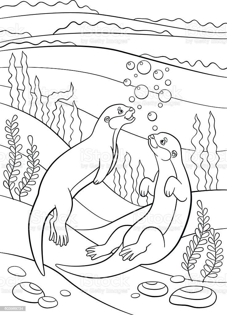 Coloring pages. Two little cute otters swim. vector art illustration