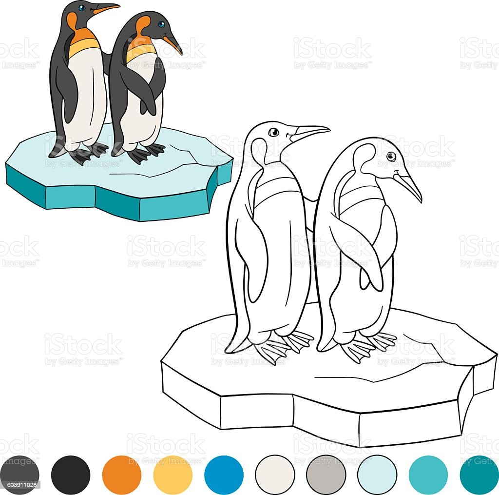 Coloring Pages Two Little Cute Penguin Stand On The Ice Floe Royalty
