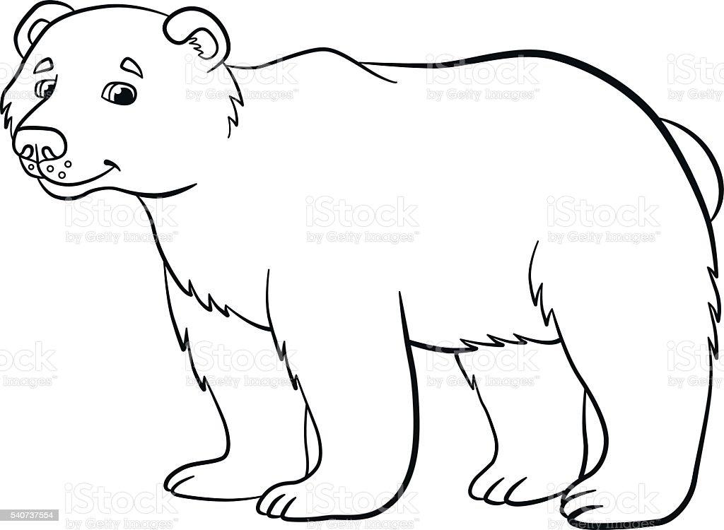 Páginas De Colorir Animais Selvagens Fofo Urso Sorri Vetor
