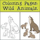 Coloring Pages: Wild Animals. Father wolf howls with his babies.
