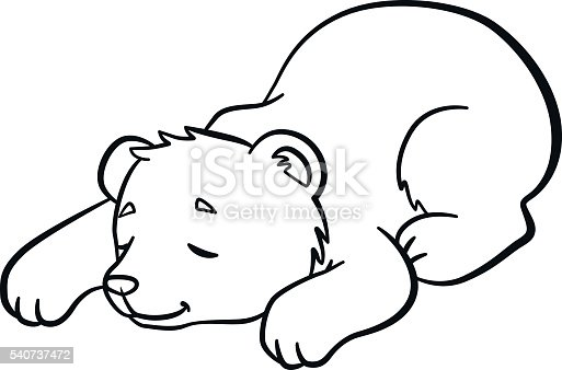 coloring pages wild animals little cute baby bear sleeps stock vector art 540737472 istock. Black Bedroom Furniture Sets. Home Design Ideas