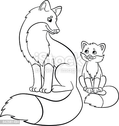 coloring pages wild animals mother fox with her baby stock vector art 542581494 istock