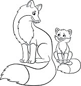coloring pages wild animals mother fox with her baby