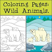 Coloring Pages Wild Animals Mother Polar Bear With Her Babies
