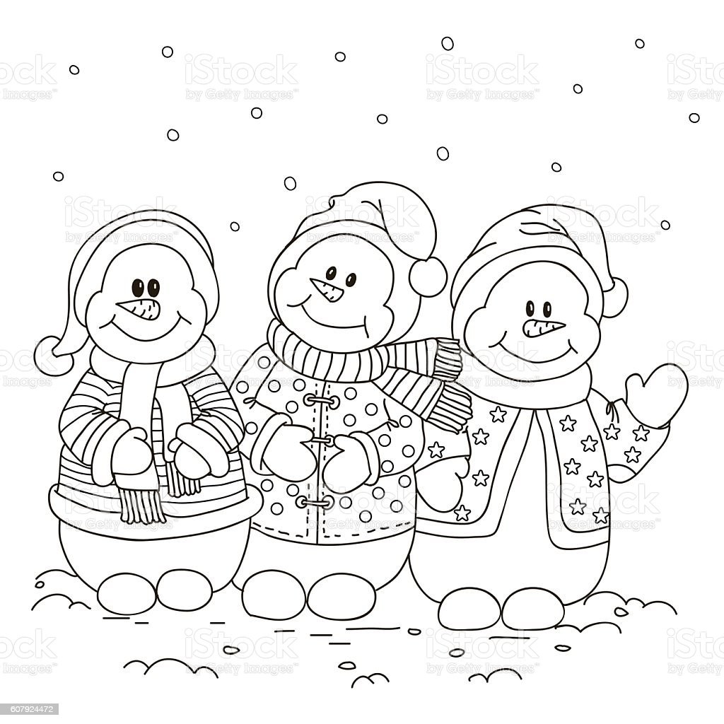 Coloring. Three snowman. vector art illustration