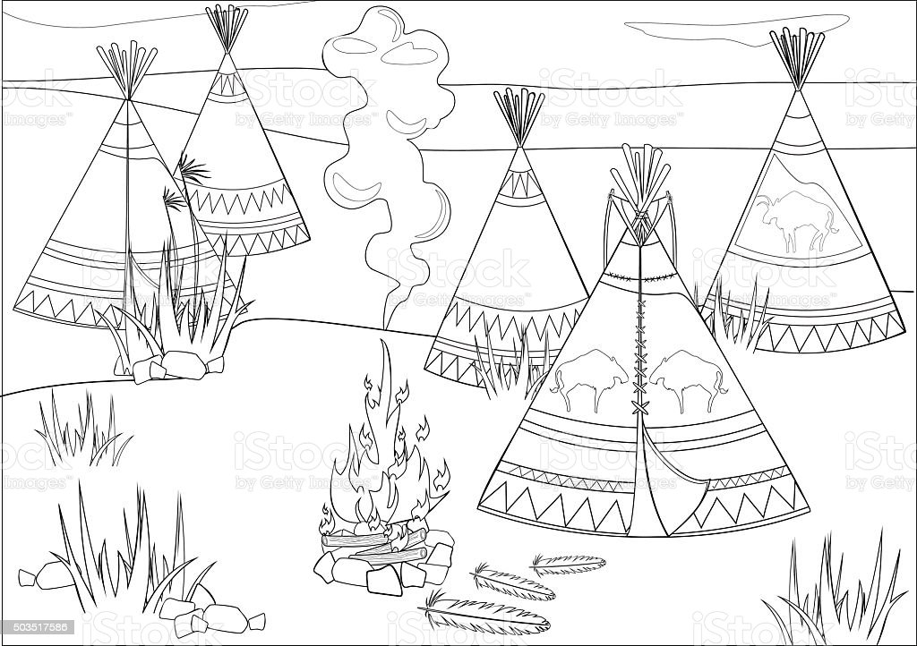 Coloring with halt Indians in prairie vector art illustration