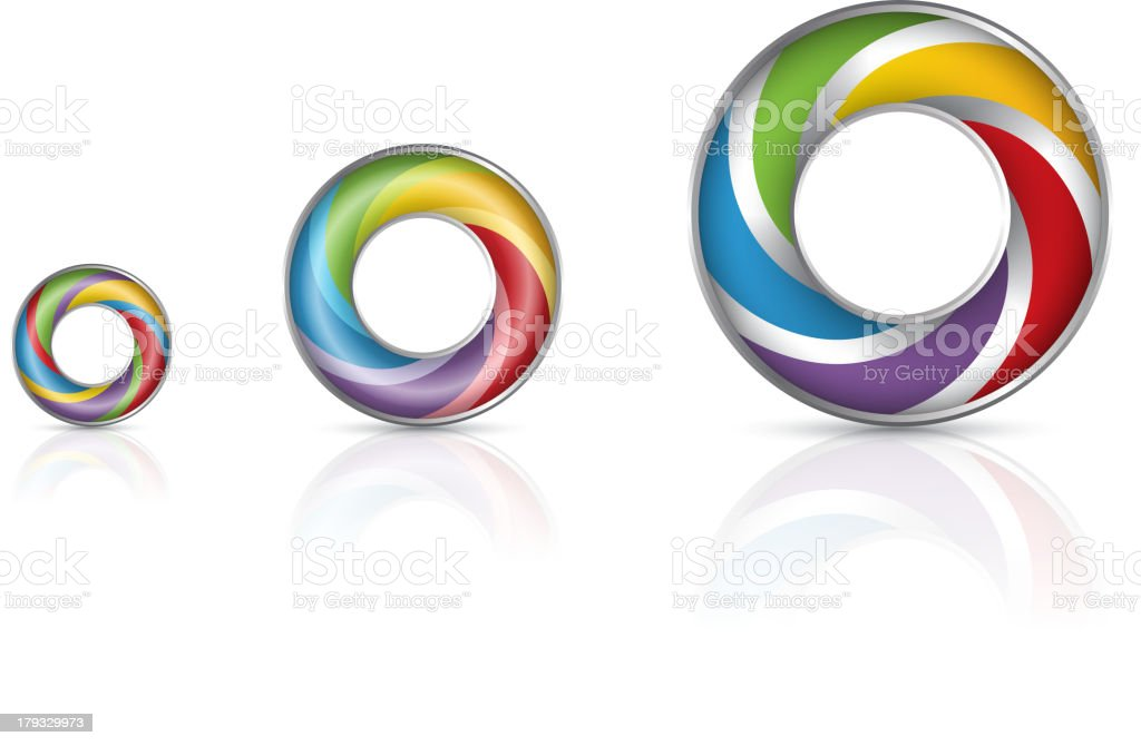 Colorized rings vector art illustration