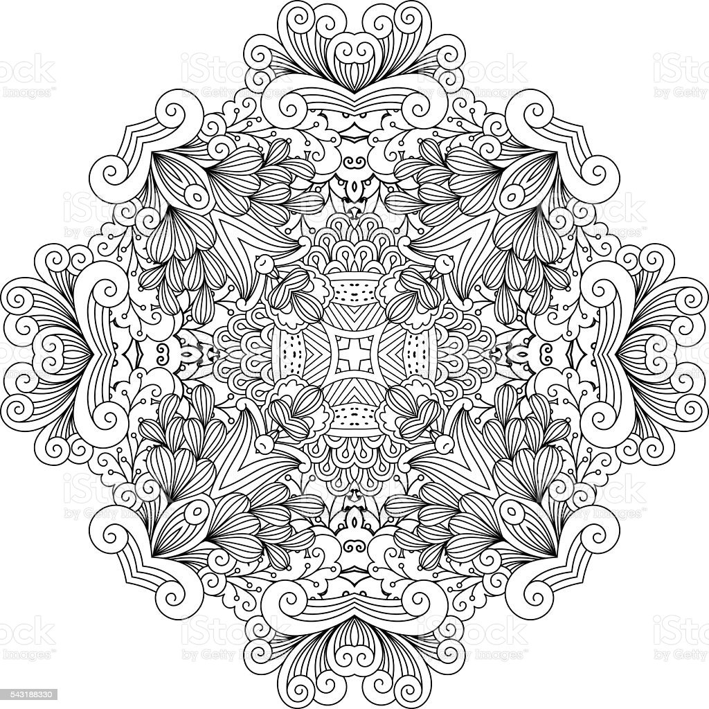 Colorless floral patterns with geometric elements vector art illustration