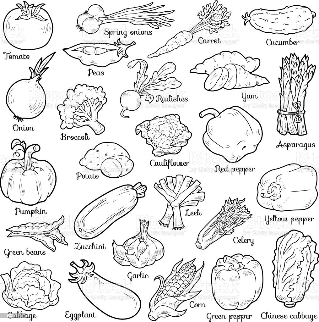 Colorless set with vegetables, vector cartoon stickers vector art illustration