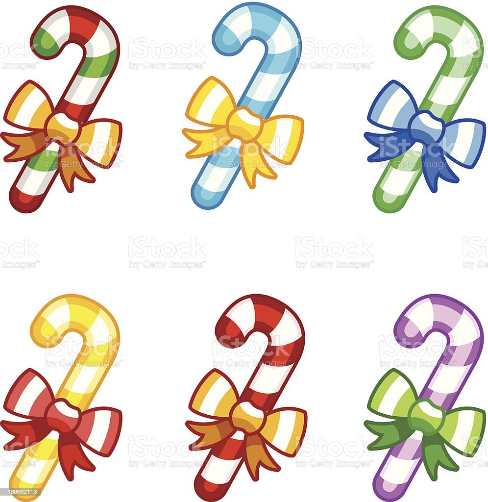 Coloruful candy canes with ribbon royalty-free stock vector art
