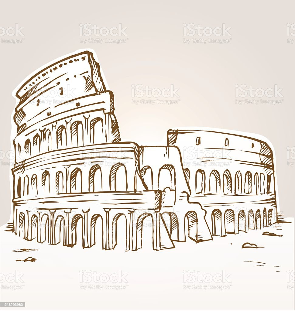 colosseum hand draw vector art illustration