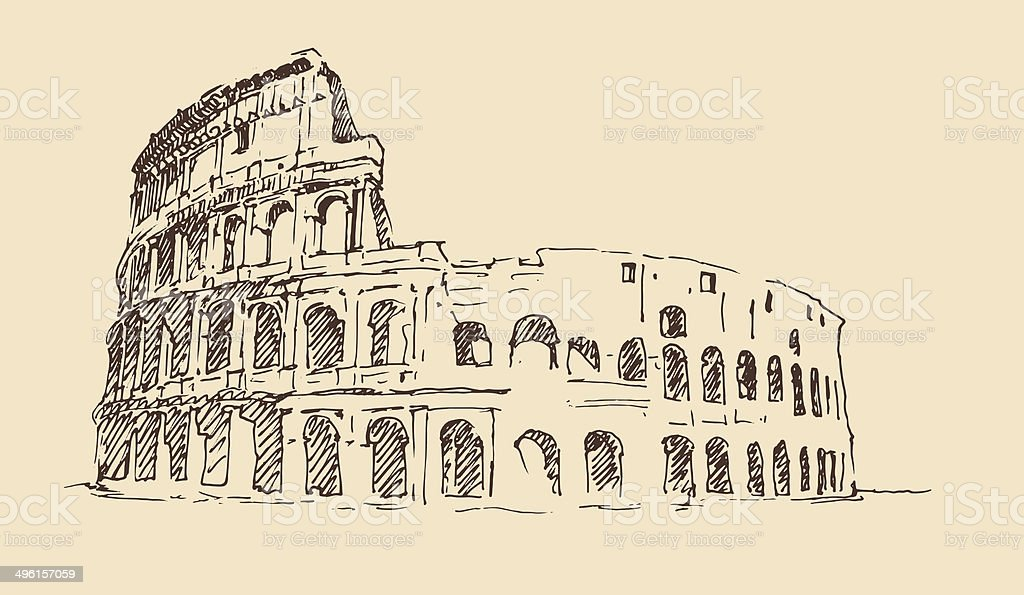 Colosseum in Rome, Italy vintage engraved illustration, hand drawn vector art illustration