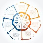 カラーの矢印インフォグラフィックを 7 極