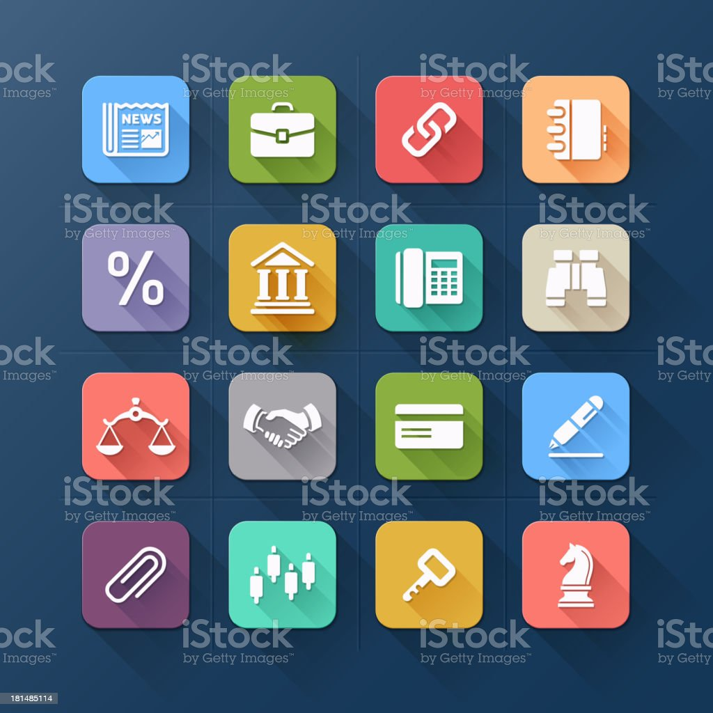 Colour flat icons for business and website design. royalty-free stock vector art