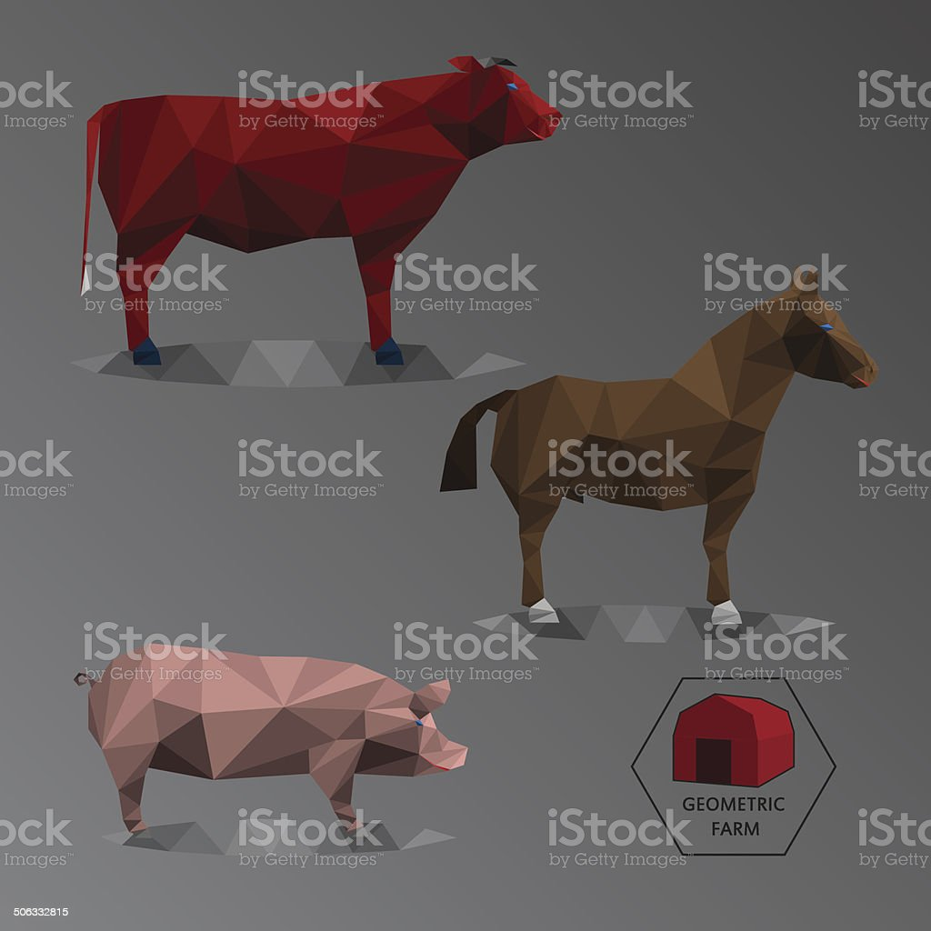 Colour full geometric illustration of big farm animals - triangl vector art illustration