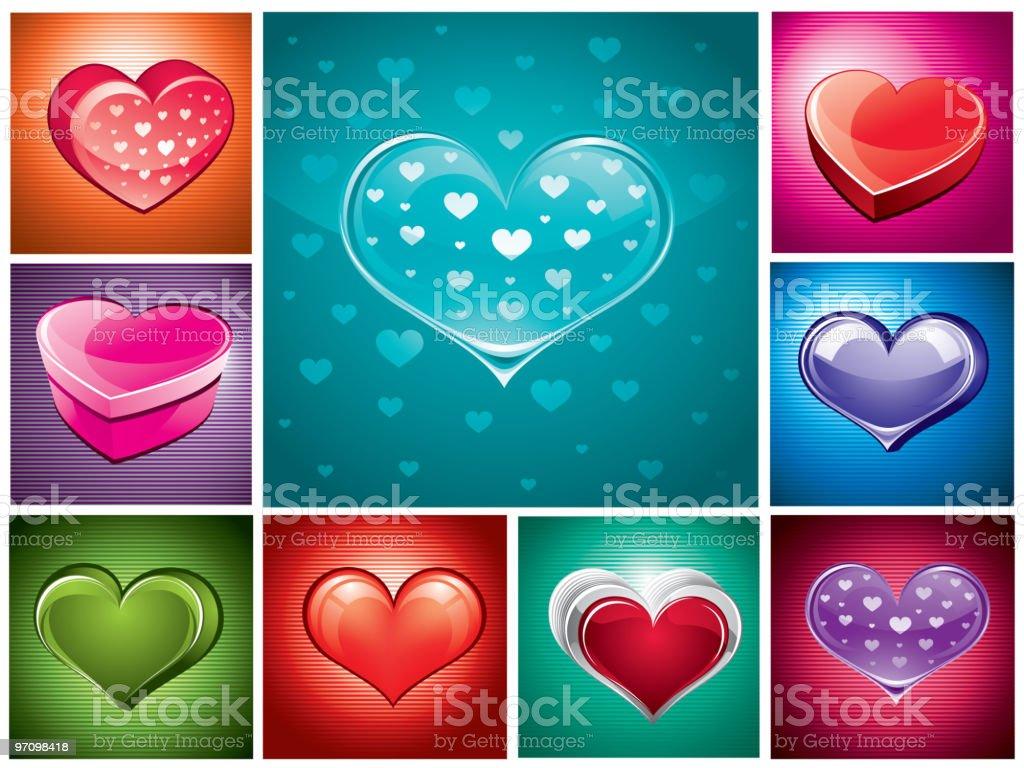 Colour hearts royalty-free stock vector art