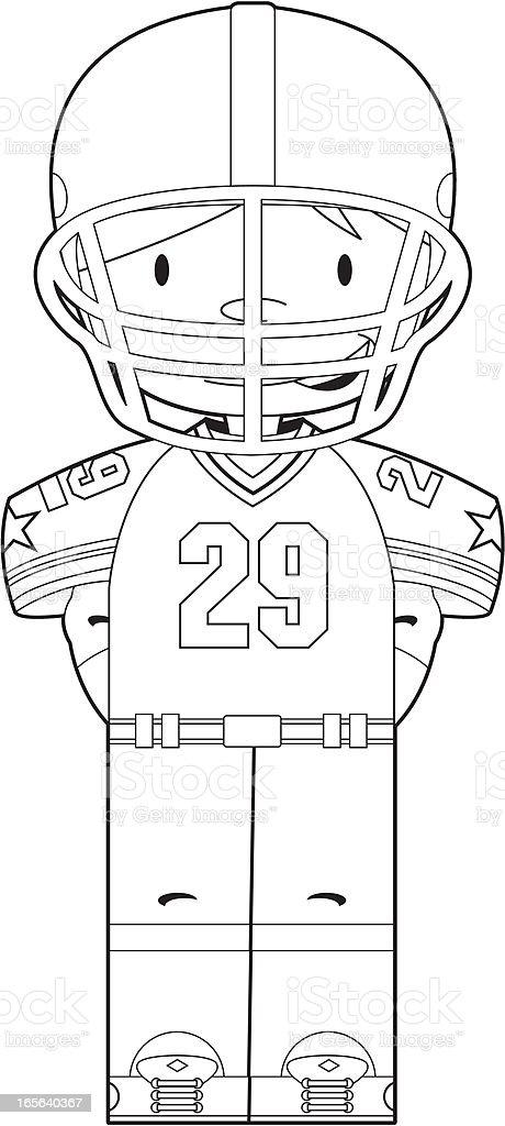 Colour In American Footballer royalty-free stock vector art