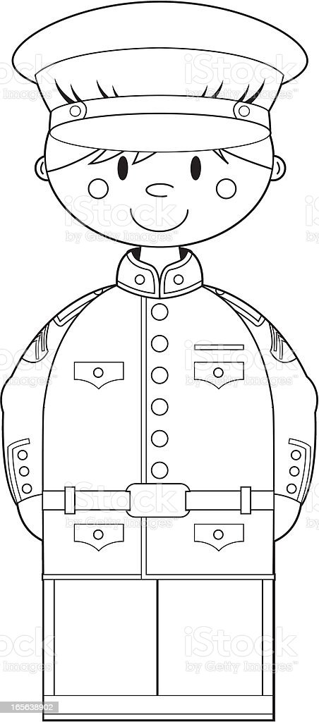 Colour In American US Marine Corp NCO royalty-free stock vector art