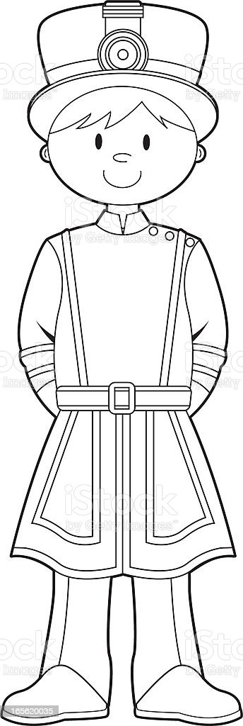 Colour In Beefeater Royal Guard royalty-free stock vector art