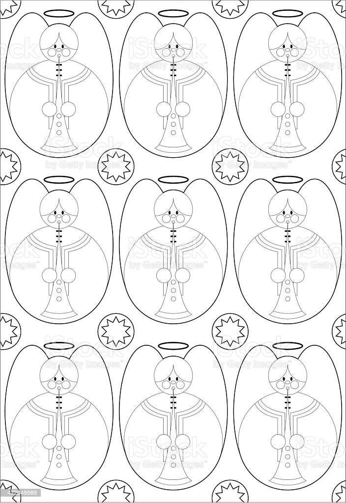 Colour In Christmas Angel Icons royalty-free stock vector art