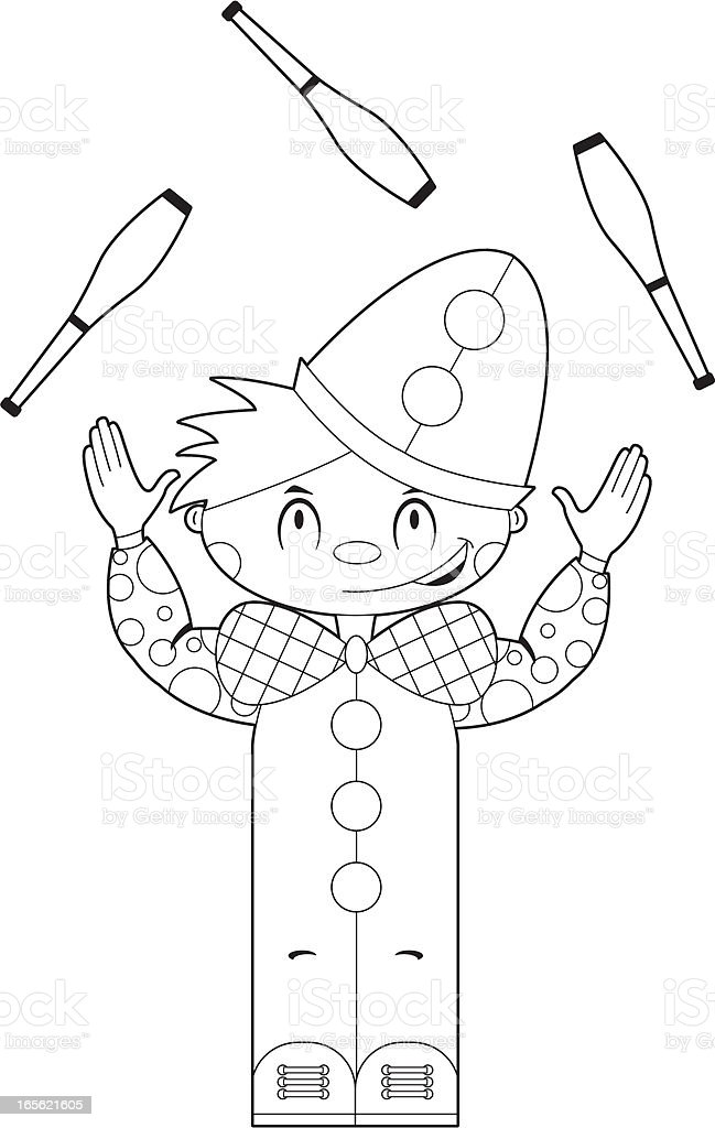 Colour In Circus Clown Juggling royalty-free stock vector art