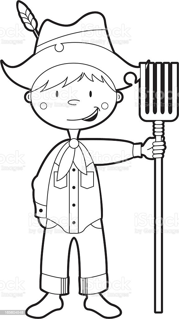 Colour In Farm Boy Character stock vector art 165604548 | iStock