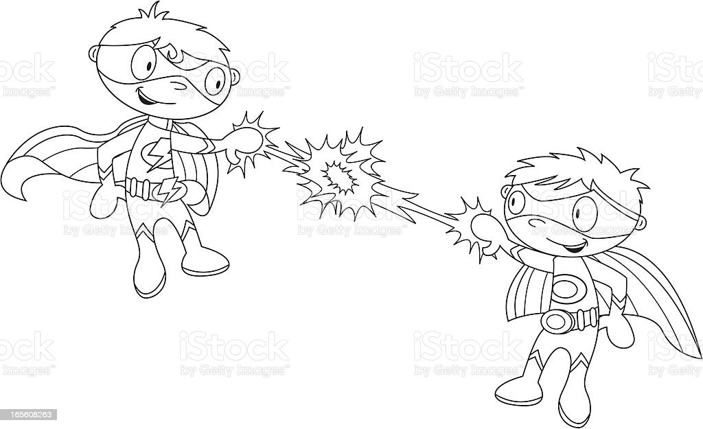 Colour In Fighting Super Boys royalty-free stock vector art
