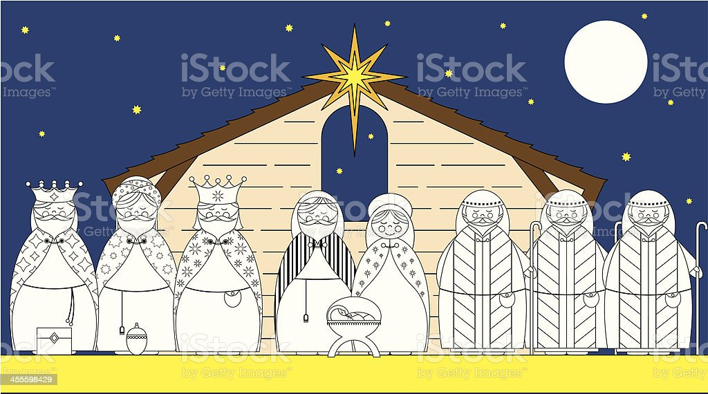Colour In Nativity Day Scene with Characters royalty-free stock vector art