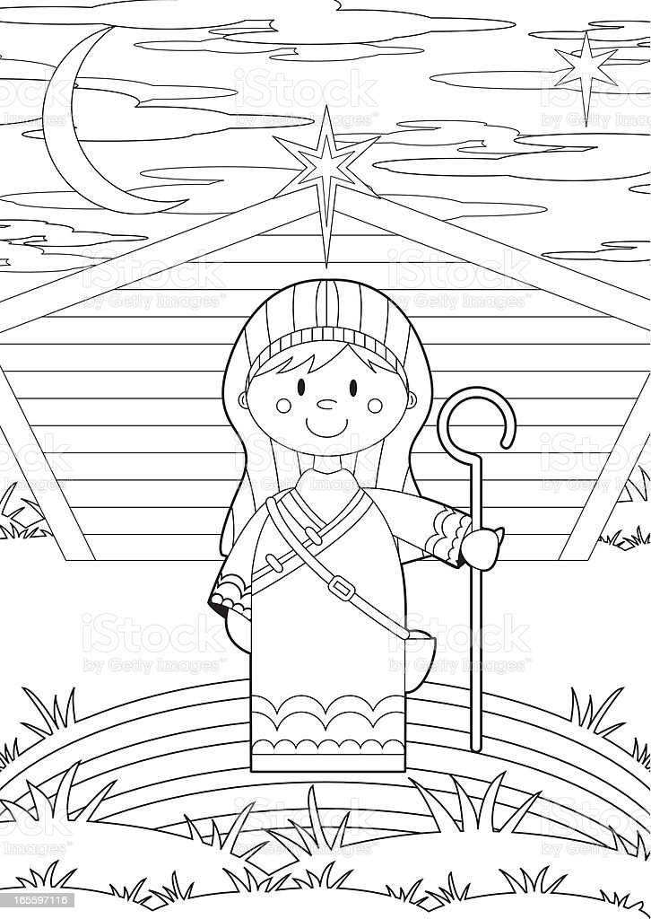 Colour In Nativity Shepherd royalty-free stock vector art