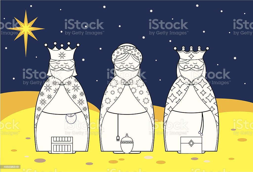 Colour In Nativity Three Kings royalty-free stock vector art
