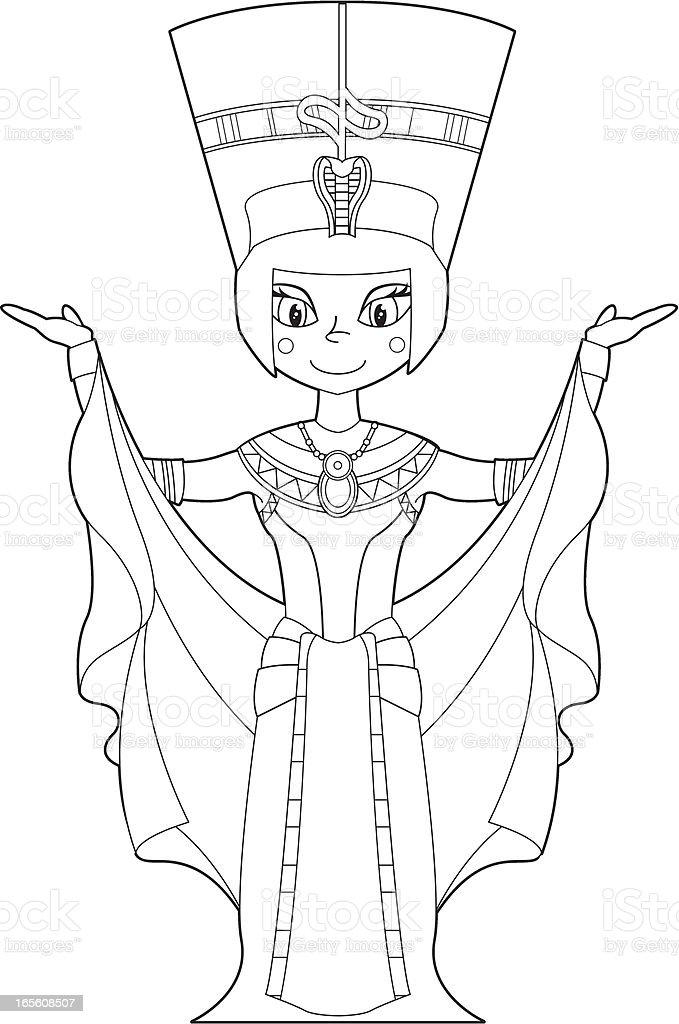 Colour In Nefertiti Egyptian Queen royalty-free stock vector art
