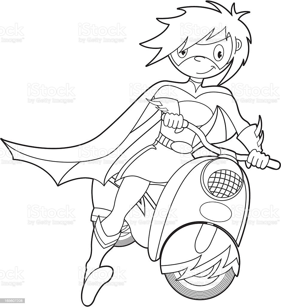 Colour In Super Girl On Bike royalty-free stock vector art