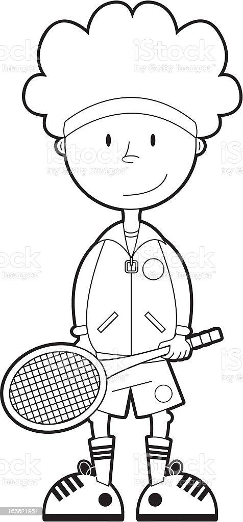Colour In Tennis Boy vector art illustration