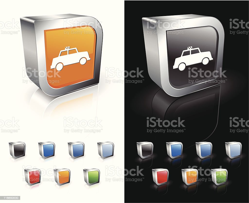 Coloured 3D digital taxi icons. royalty-free stock vector art