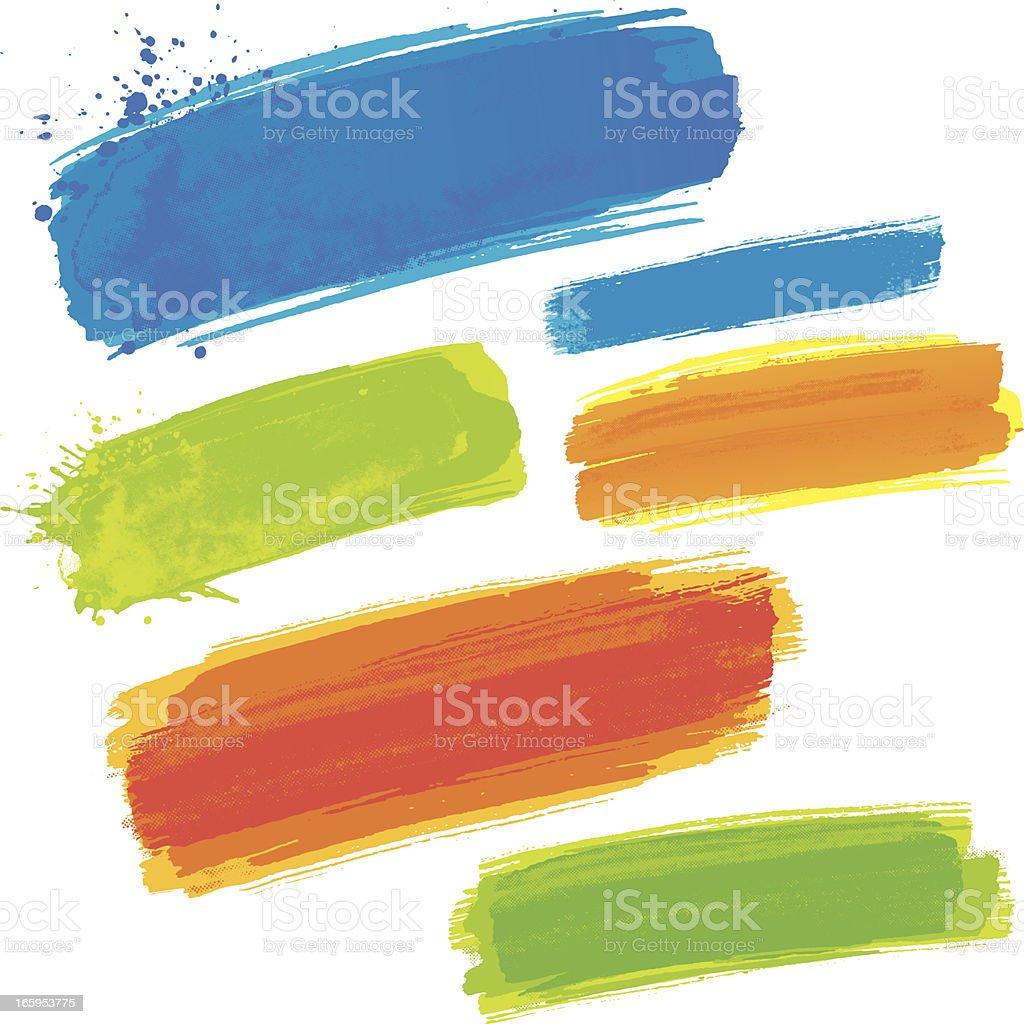 Coloured brush strokes vector art illustration