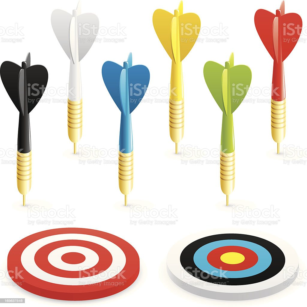 Coloured darts and targets vector art illustration