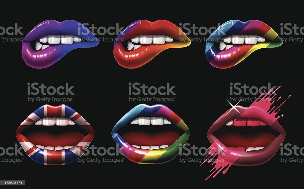 Coloured Lips vector art illustration