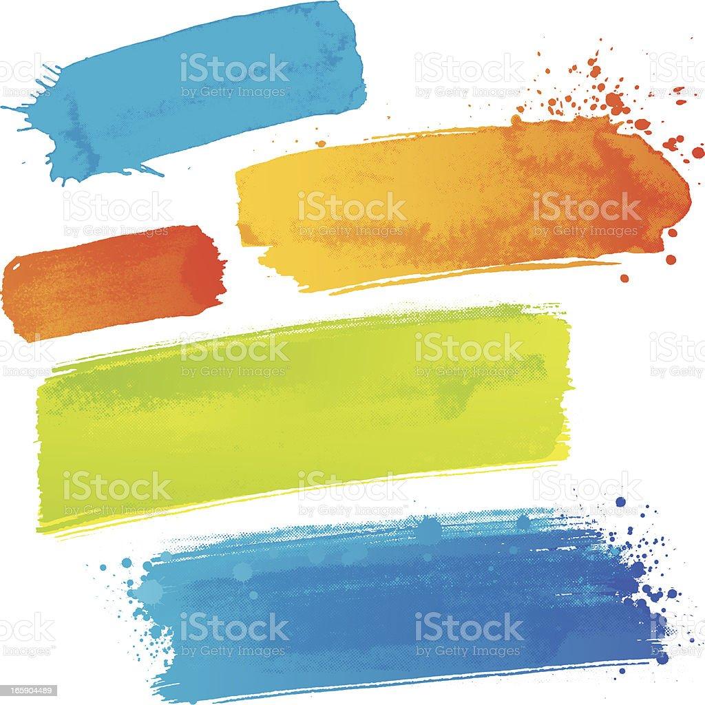 Coloured paint strokes vector art illustration