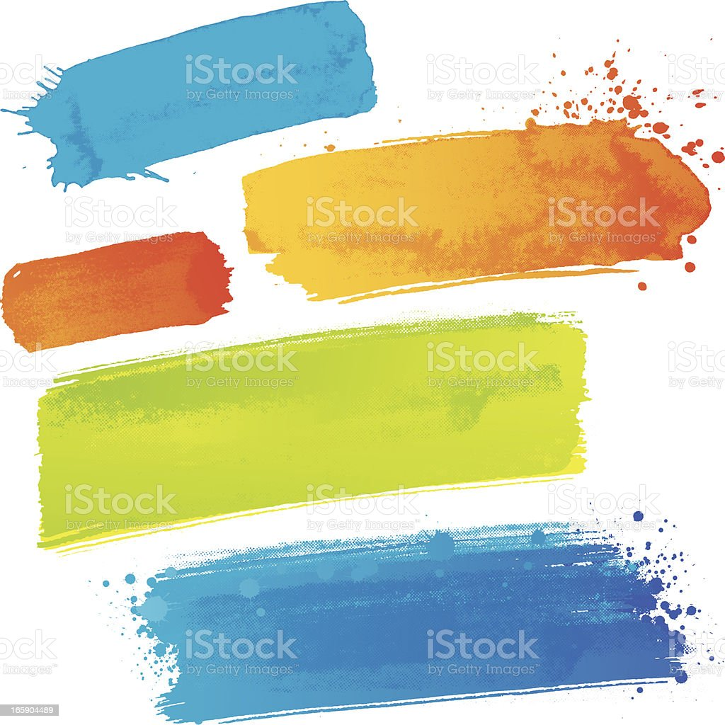 Coloured paint strokes vector art illustration