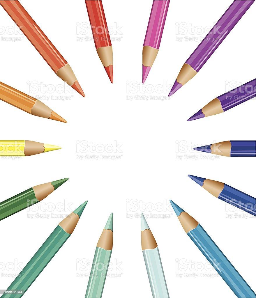 Coloured Pencils Circular royalty-free stock vector art