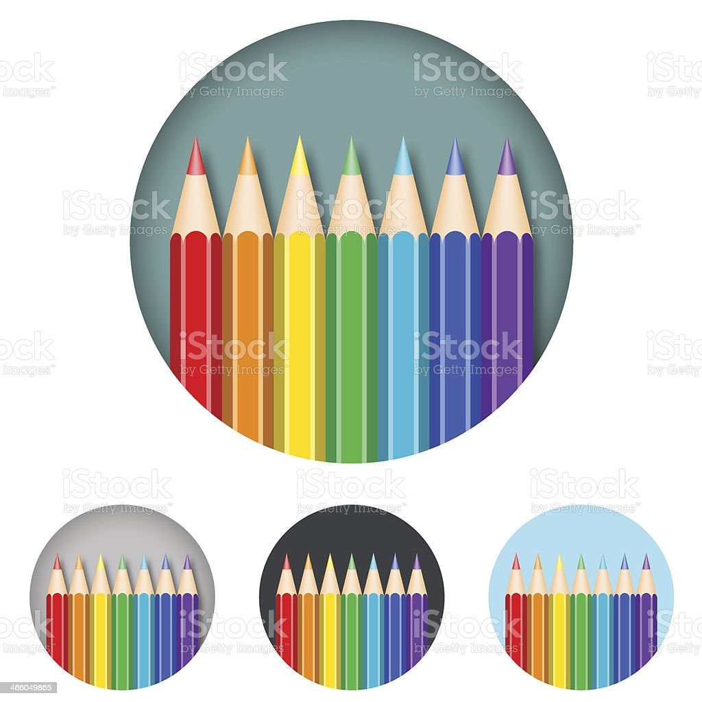 Coloured Pencils Round Icon royalty-free stock vector art