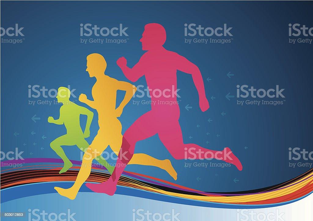 Colourful Athletes vector art illustration