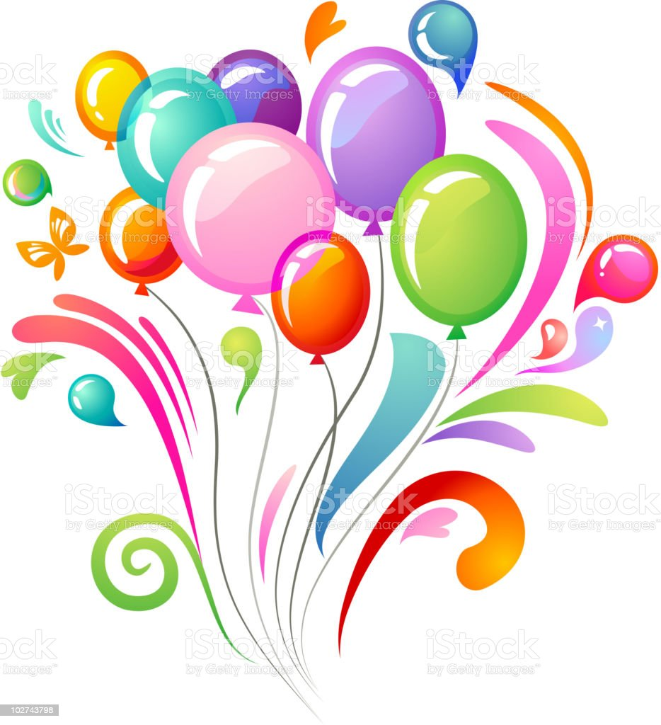 Colourful background with balloons vector art illustration