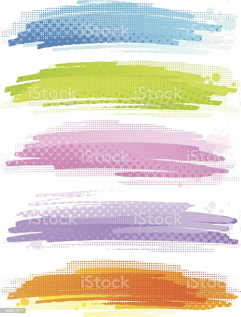 Colourful banners with halftone pattern royalty-free stock vector art