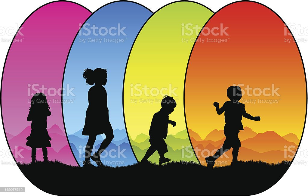 Colourful children silhouettes royalty-free stock vector art